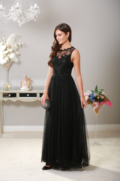 Harper Black Tuille Maxi Dress - LadyVB   s.r.o - 3