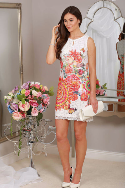Mary Orange Lace Print Dress - LadyVB   s.r.o - 1