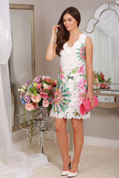 Maire White Lace Dress with pink print - LadyVB   s.r.o - 1