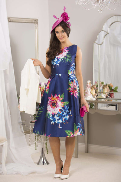 Fit and Flare Navy Print Dress - LadyVB   s.r.o - 1