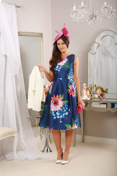 Fit and Flare Navy Print Dress - LadyVB   s.r.o - 2