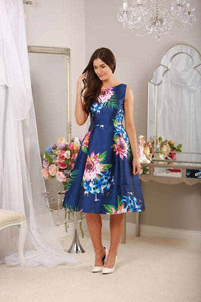 Fit and Flare Navy Print Dress - LadyVB   s.r.o - 5