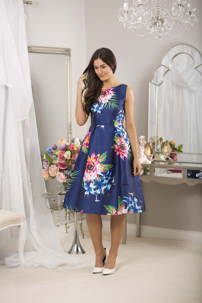 Fit and Flare Navy Print Dress - LadyVB   s.r.o - 6