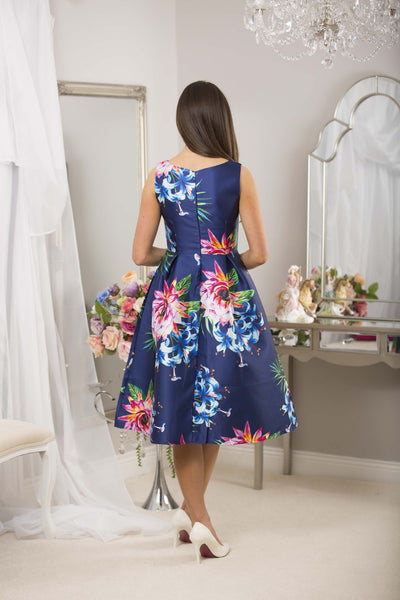 Fit and Flare Navy Print Dress - LadyVB   s.r.o - 7