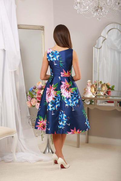 Fit and Flare Navy Print Dress - LadyVB   s.r.o - 8