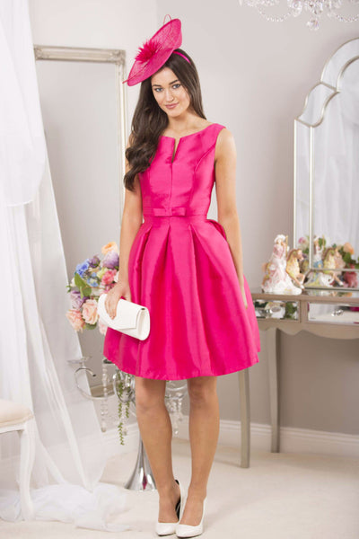 Fushia Bow Pleated Swing Dress - LadyVB   s.r.o - 2