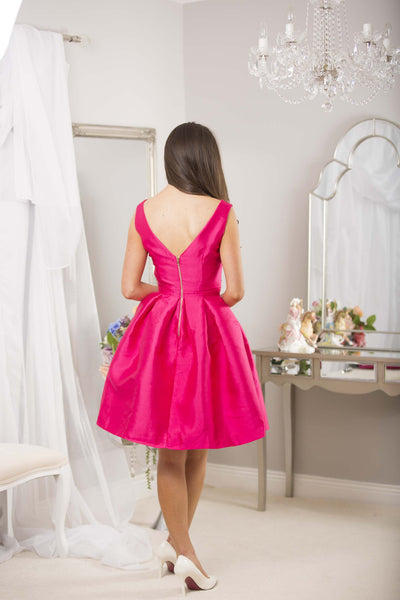 Fushia Bow Pleated Swing Dress - LadyVB   s.r.o - 6