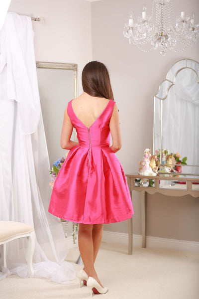 Fushia Bow Pleated Swing Dress - LadyVB   s.r.o - 5