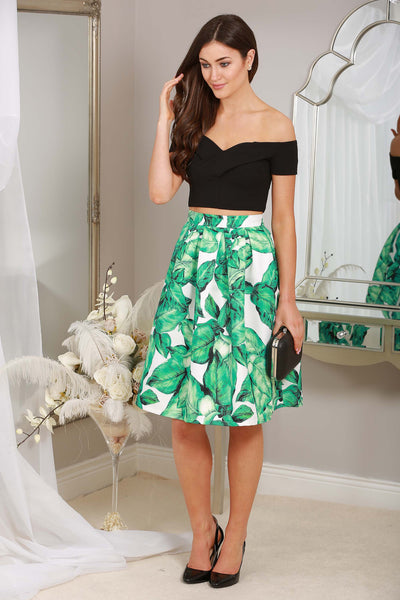 GREEN  LEAF PRINT SKIRT - LadyVB   s.r.o - 1
