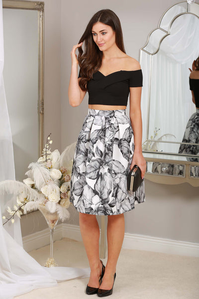 BLACK LEAF PRINT SKIRT - LadyVB   s.r.o - 1