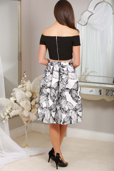 BLACK LEAF PRINT SKIRT - LadyVB   s.r.o - 2
