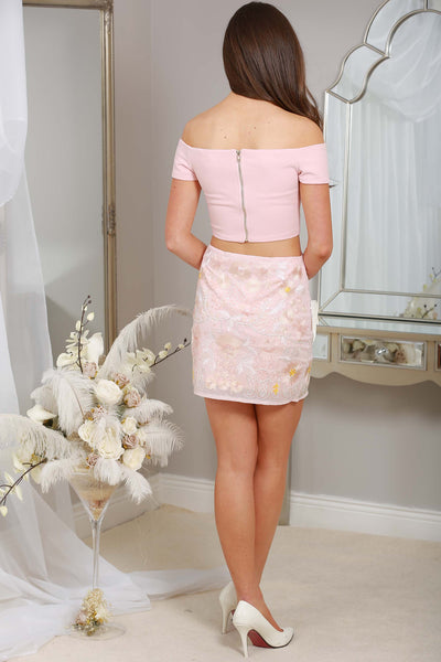 Peach Sequin Embellished Kylie Skirt - LadyVB   s.r.o - 2