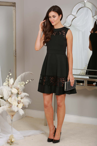 Irena Black Dress with lace trim - LadyVB   s.r.o - 1