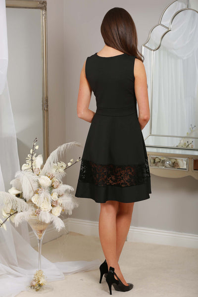 Irena Black Dress with lace trim - LadyVB   s.r.o - 2