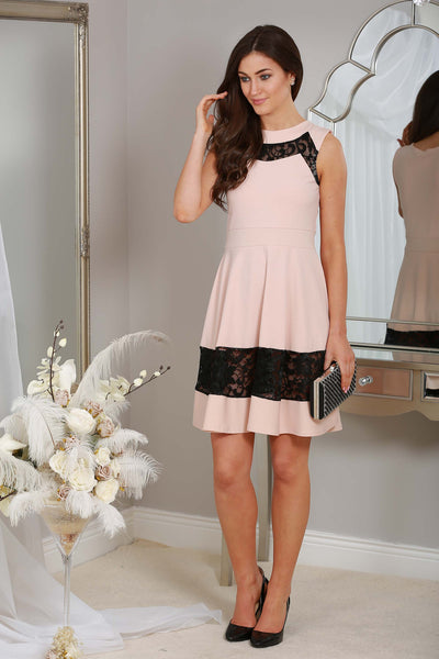 Irena Nude Dress with lace trim - LadyVB   s.r.o - 1