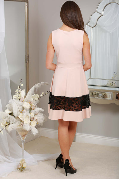 Irena Nude Dress with lace trim - LadyVB   s.r.o - 2