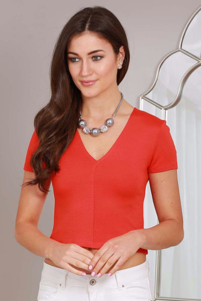Orange Emma V Neck Stretch Top - LadyVB   s.r.o - 1