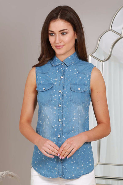 Sleeveless Denim Shirt - LadyVB   s.r.o - 1