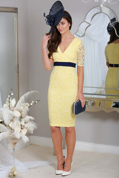 Arianna Yellow and Navy Lace Dress - LadyVB   s.r.o - 1