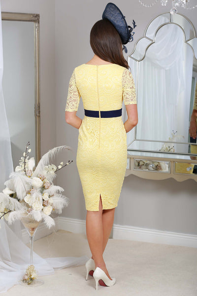 Arianna Yellow and Navy Lace Dress - LadyVB   s.r.o - 2