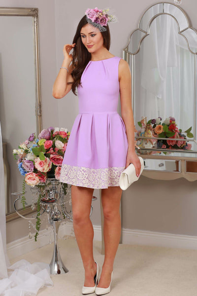 Cindy Purple and Cream Lace Dress - LadyVB   s.r.o - 1