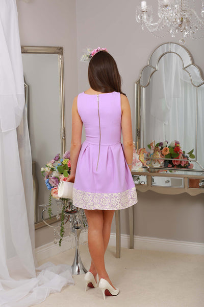 Cindy Purple and Cream Lace Dress - LadyVB   s.r.o - 2
