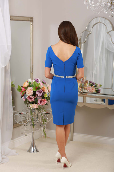 Blue Dress with Jewel Embellished Waist - LadyVB   s.r.o - 3