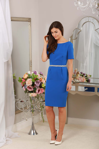 Blue Dress with Jewel Embellished Waist - LadyVB   s.r.o - 4