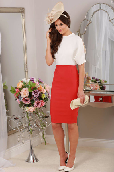 Della Rouge and Ivory Slit Sleeve Dress - LadyVB   s.r.o - 2