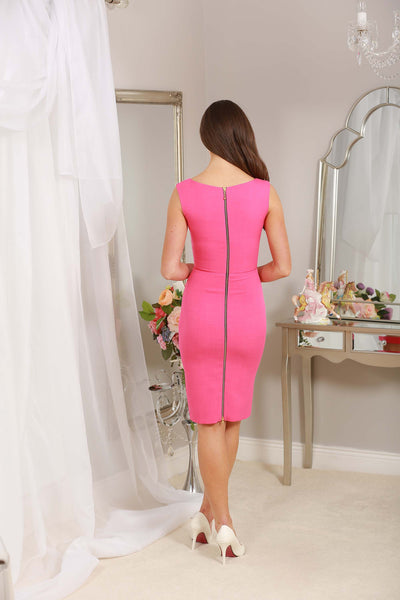 Kyla Pink Crepe Exposed Back Zip - LadyVB   s.r.o - 4
