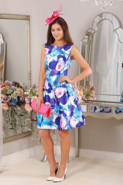 Kay Blue and Pink Floral Fit and Flare Dress - LadyVB   s.r.o - 1