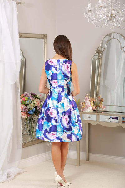 Kay Blue and Pink Floral Fit and Flare Dress - LadyVB   s.r.o - 3