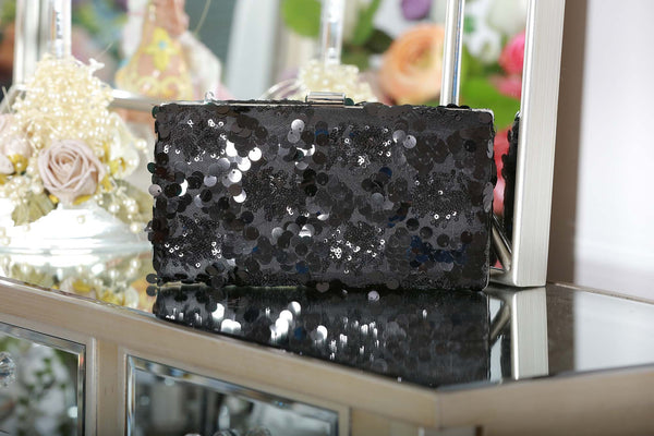 Black Sequin Clutch Bag - LadyVB   s.r.o - 4