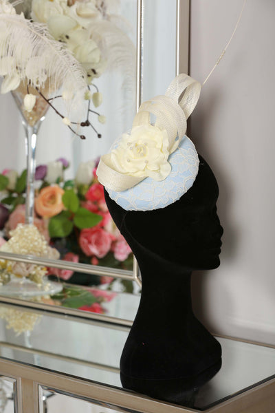 Bespoke Baby Blue Rose Fascinator - LadyVB   s.r.o