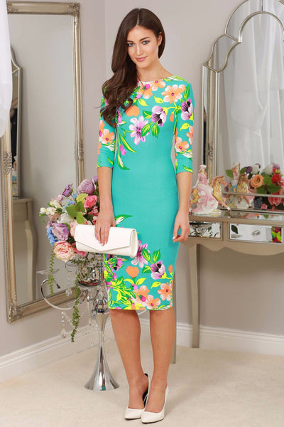 Turquoise Floral stretch Dress - LadyVB   s.r.o - 1