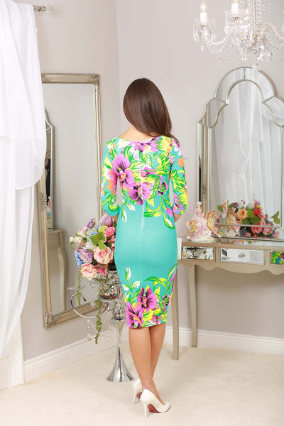 Turquoise Floral stretch Dress - LadyVB   s.r.o - 2