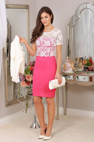 Briony Pink and Ivory Lace Overlay Dress - LadyVB   s.r.o - 1