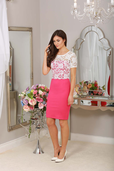 Briony Pink and Ivory Lace Overlay Dress - LadyVB   s.r.o - 2