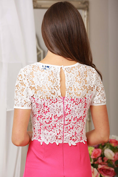 Briony Pink and Ivory Lace Overlay Dress - LadyVB   s.r.o - 3