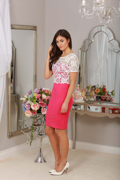 Briony Pink and Ivory Lace Overlay Dress - LadyVB   s.r.o - 4