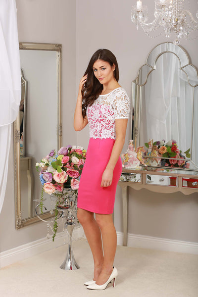 Briony Pink and Ivory Lace Overlay Dress - LadyVB   s.r.o - 5