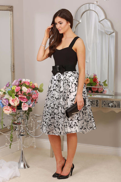 Sinita White Overlay Skirt with Black Flowers - LadyVB   s.r.o - 1