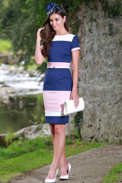 Aubrey Blush Navy & Cream Panel Dress - LadyVB   s.r.o - 2