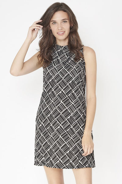 Millie Monochrome Asymmetric Geometric print  Dress - LadyVB   s.r.o - 4
