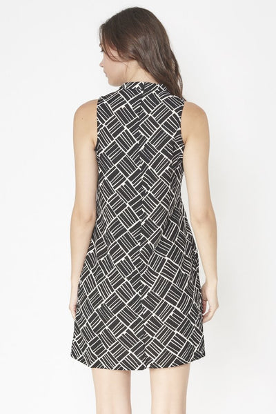 Millie Monochrome Asymmetric Geometric print  Dress - LadyVB   s.r.o - 5