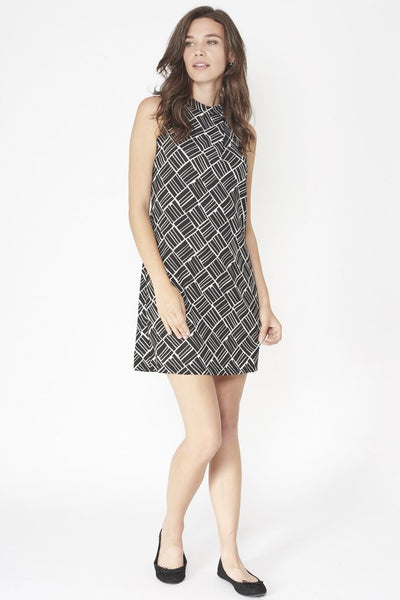 Millie Monochrome Asymmetric Geometric print  Dress - LadyVB   s.r.o - 3