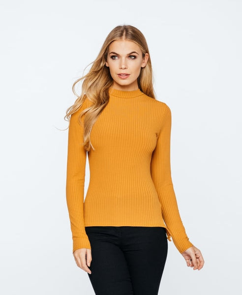 Laura Ribbed High Neck Lace Up  Back Mustard Long Sleeve Top - LadyVB   s.r.o - 1