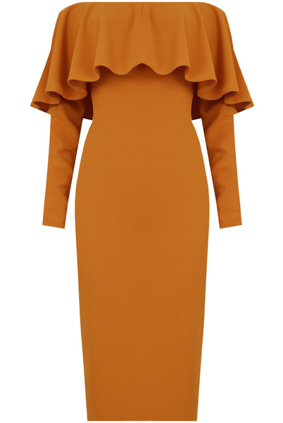 Gemma Off The Shoulder Frill Trim Mustard Midi Dress - LadyVB   s.r.o - 3