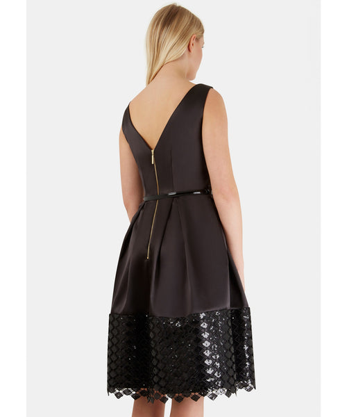 Natalie Black Belted V-Back Pleated Contrast Lace Hem Dress - LadyVB   s.r.o - 3