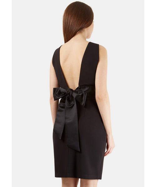 Natasha Black Sleeveless Black Waistband Bow Tie Back Dress - LadyVB   s.r.o - 4